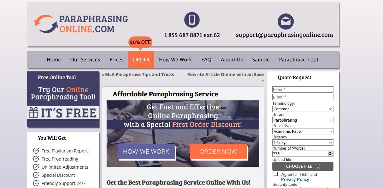 professional paraphrasing tool online